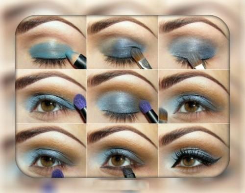Синий макияж для карих глаз
